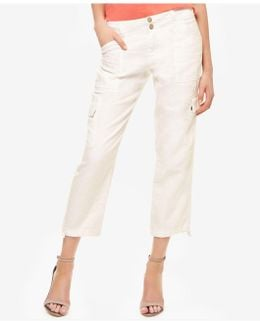 Linen Cropped Cargo Pants