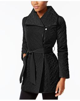 Faux-leather-trim Asymmetrical Quilted Coat