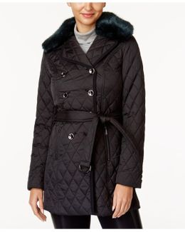 Faux-fur-collar Quilted Coat