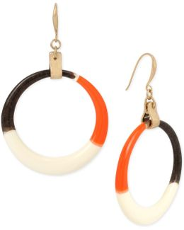 Gold-tone Multicolor Drop Hoop Earrings