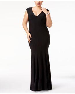 Plus Size Cap-sleeve Mermaid Gown