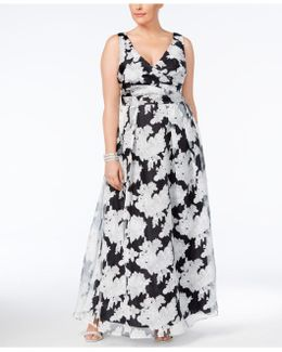 Plus Size Floral-overlay Gown