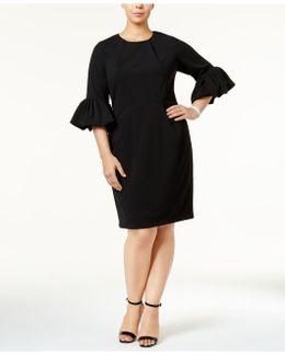 Plus Size Lantern-sleeve Sheath Dress