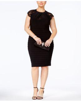 Plus Size Shutter-pleat Sheath Dress