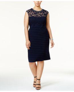 Plus Size Banded Lace Sheath Dress