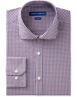Men's Slim-fit Comfort Stretch Rose Gingham Dress Shirt
