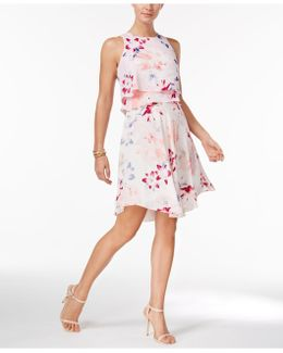 Floral-print Tiered Popover Dress