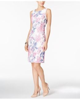 Printed Lace Sheath Dress