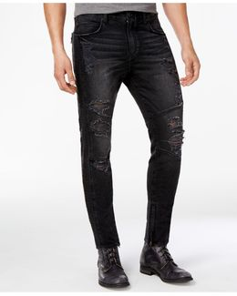 Men's Ankle-zip Ripped Skinny Jeans