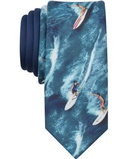 Men's Surfer Print Skinny Tie