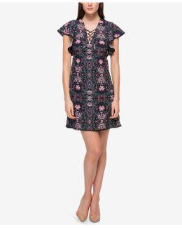 Floral Lace-up Flutter-sleeve Dress