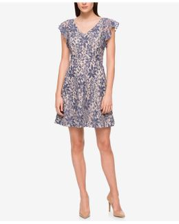 Ruffle-sleeve Denim Lace Fit & Flare Dress