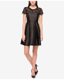 Embellished Lace-yoke Fit & Flare Dress