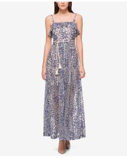 Denim Illusion Lace Maxi Dress