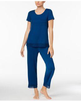 Lace-trimmed Knit Pajama Set