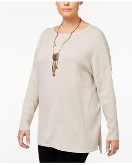 Plus Size Seamed Boat-neck Sweater