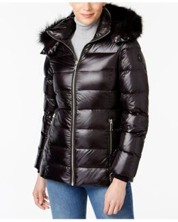 Fox-fur-trim Hooded Puffer Coat