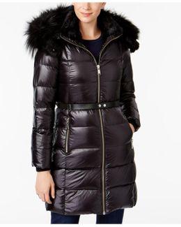 Rabbit-fur-trim Down Puffer Coat