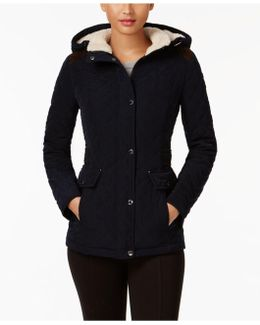 Quilted Faux-suede-trim Jacket