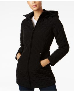 Faux-fur-lined Quilted Coat