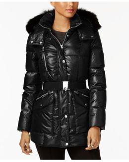 Coyote-fur-trim Hooded Puffer Coat