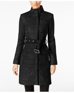 Faux-leather-trim Bouclé Coat