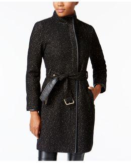 Faux-leather-trim Textured Walker Coat