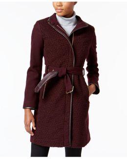 Faux-leather-trim Boucle Coat