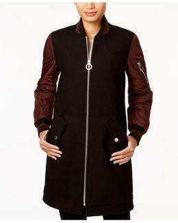 Wool-blend Striped-cuff Walker Coat