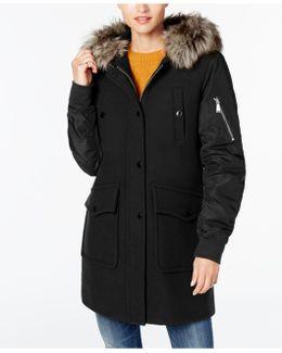 Faux-fur-trim Mixed-media Coat