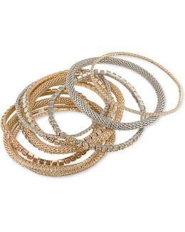 Two-tone 10-pc. Set Crystal Stretch Bracelets