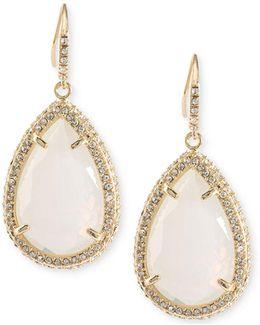 Gold-tone Pavé & White Stone Drop Earrings