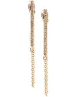 Gold-tone Pavé Bar & Chain Linear Drop Earrings