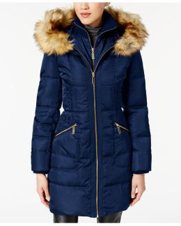 Faux-fur-trimmed Hooded Puffer Coat
