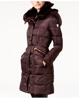 Faux-fur-trim Zip-pocket Puffer Coat