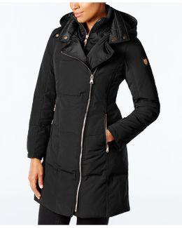 Asymmetrical-zipper Puffer Coat