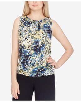 Printed Pleated-neck Shell