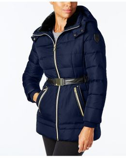 Faux-leather-trimmed Puffer Coat