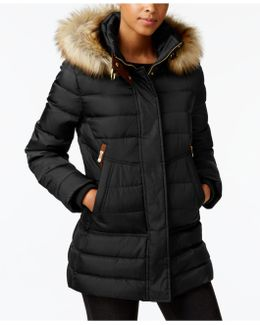 Faux-fur-trimmed Hooded Quilted Puffer Coat