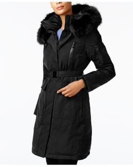 Faux-fur-trim Belted Coat