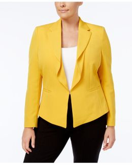 Plus Size Flounced Hook-and-eye Jacket