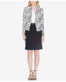 Printed Jacket & Pencil Skirt Suit