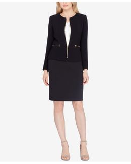Zippered Skirt Suit