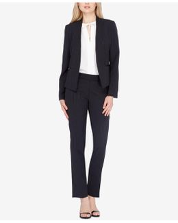 Missy & Petite Pinstriped Collarless Pantsuit