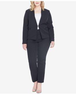 Plus Size Pinstriped Pantsuit