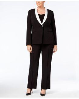 Plus Size One-button Contrast Shawl Collar Pantsuit