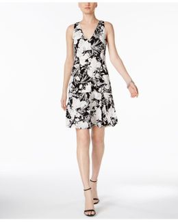 Floral-print Drop-waist Fit & Flare Dress