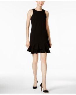 Ruffle-hem Grommet Sheath Dress