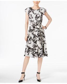Printed Ruffled Dress With Sash Belt