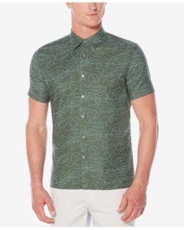 Short Sleeve Print Map Outline Shirt